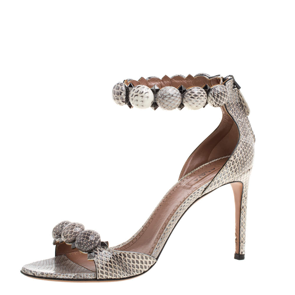 Alaia Multicolor Python Chamois Bombe Ankle Cuff Sandals Size 39