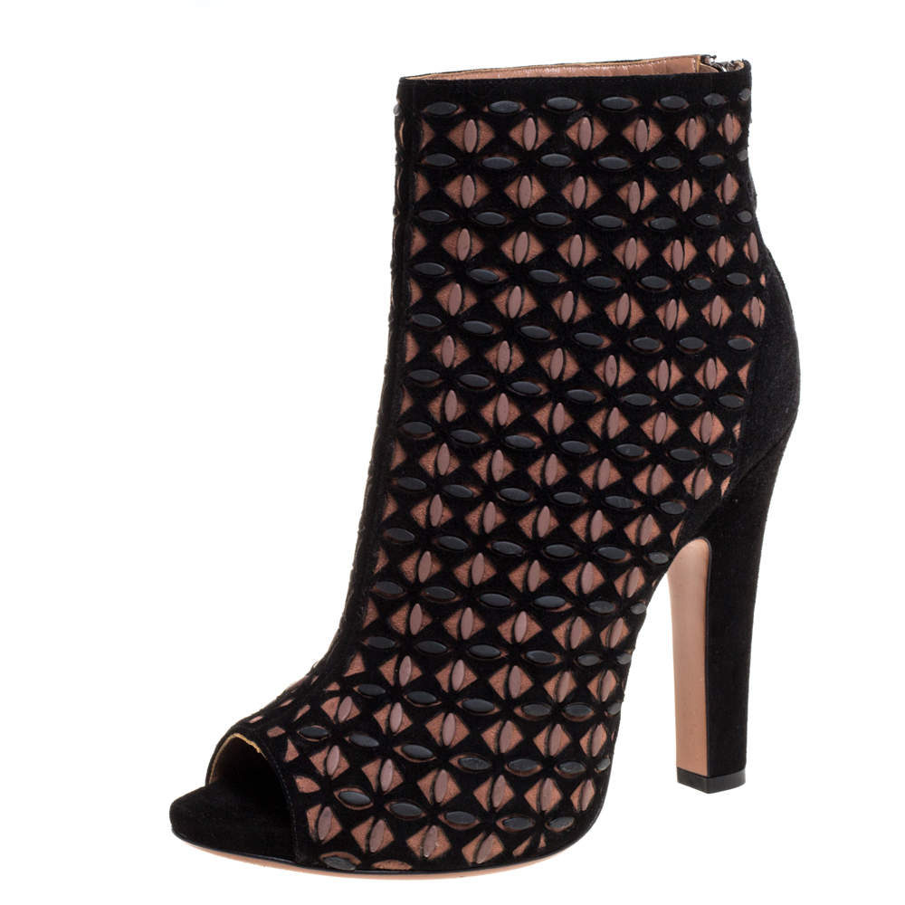 Alaia Black/Brown Suede Leather Laser Cut Peep Toe Ankle Booties Size 40
