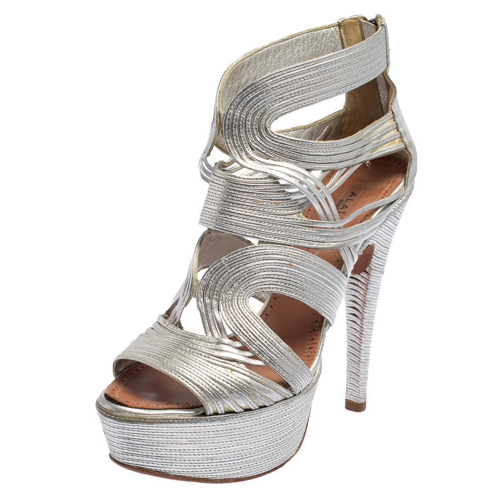 Alaia  Silver Leather Cage Wave Platform Sandals Size 37