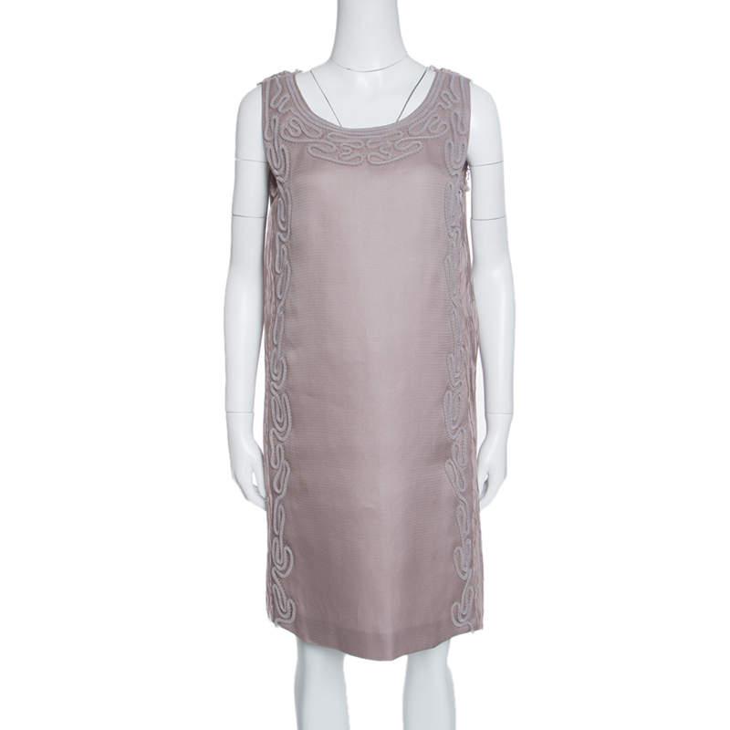 Alberta Ferretti Purple Crinkled Silk Textured Applique Detail Sleeveless Dress M