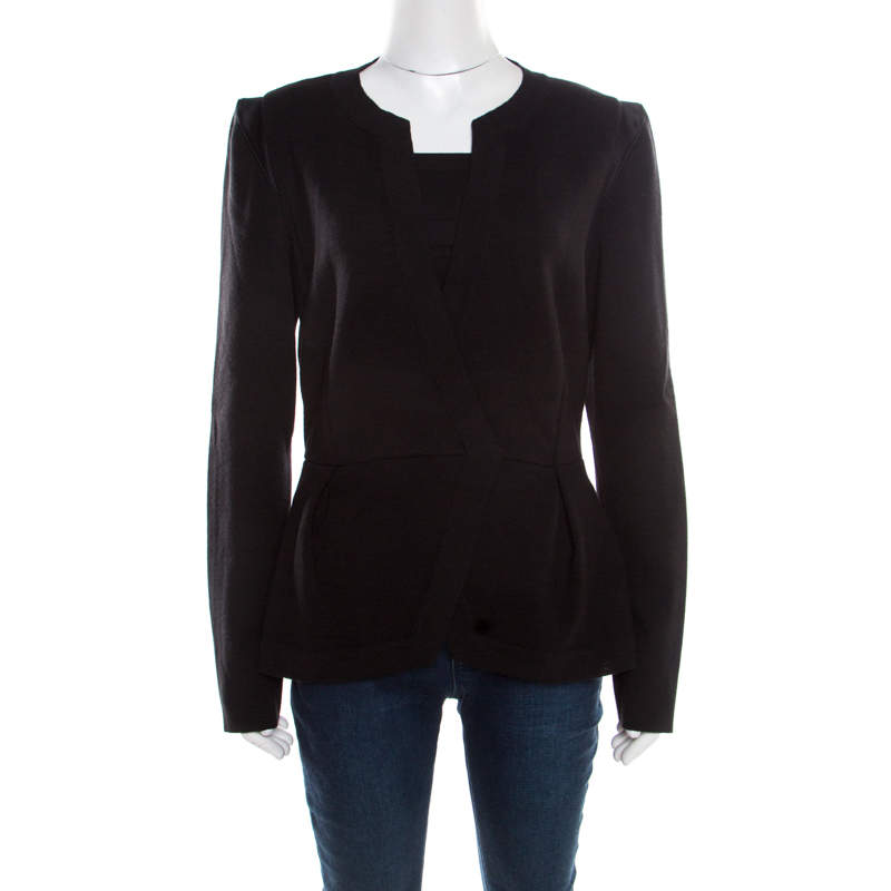 Alberta Ferretti Black Wool Satin Trim Faux Wrap Cardigan L