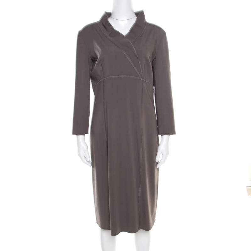 Alberta Ferretti Grey Wool Blend Topstitch Detail Long Sleeve Sheath Dress L