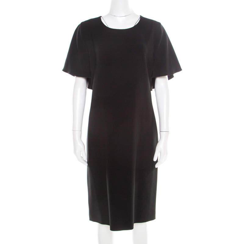 Alberta Ferretti Black Crepe Knit Draped Sleeve Shift Dress M