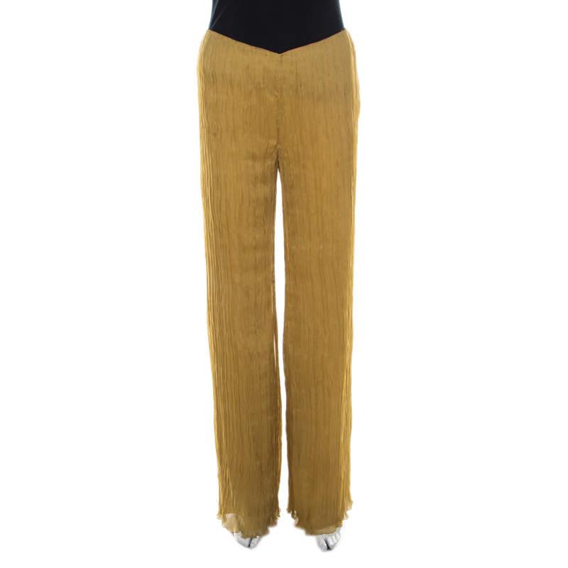 Alberta Ferretti Mustard Crinkled Chiffon Silk Pallazo Trousers M