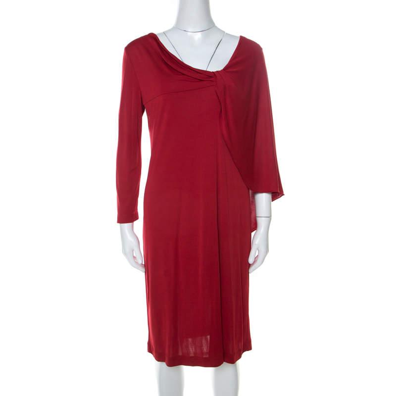 Alberta Ferretti Red Silk Jersey Asymmetric Batwing Sleeve Dress M