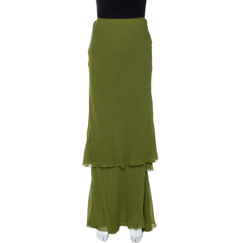 Alberta Ferretti Green Silk Crepe Tiered Skirt M