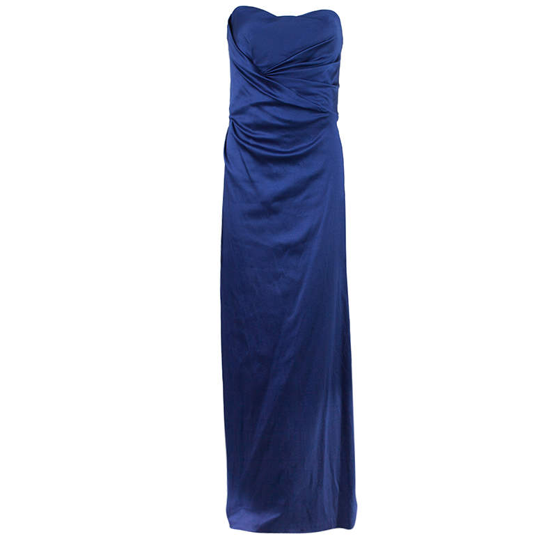 Alberta Ferretti Blue Strapless Fishtail Gown L