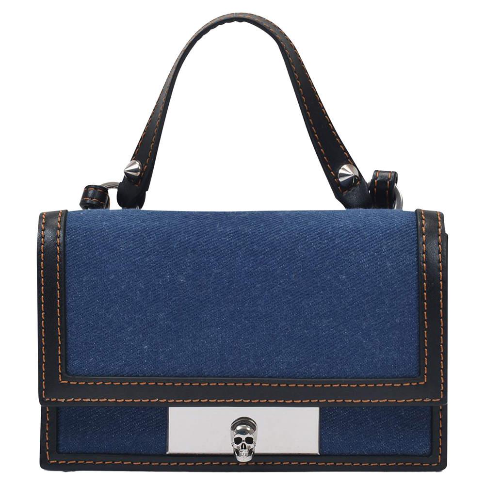 Alexander McQueen Blue Canvas Skull Lock Small Bag
