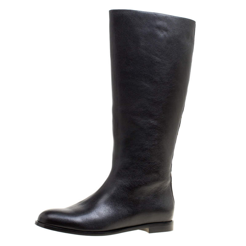 Alexander McQueen Black Leather Spike Trimmed Mid Calf Boots Size 40