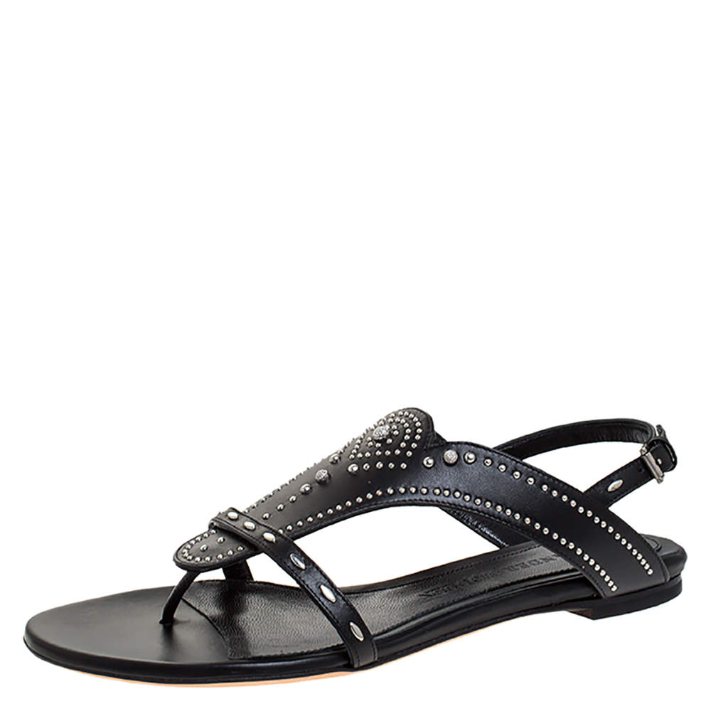 Alexander McQueen Black Studded Leather Flat Sandals Size 38