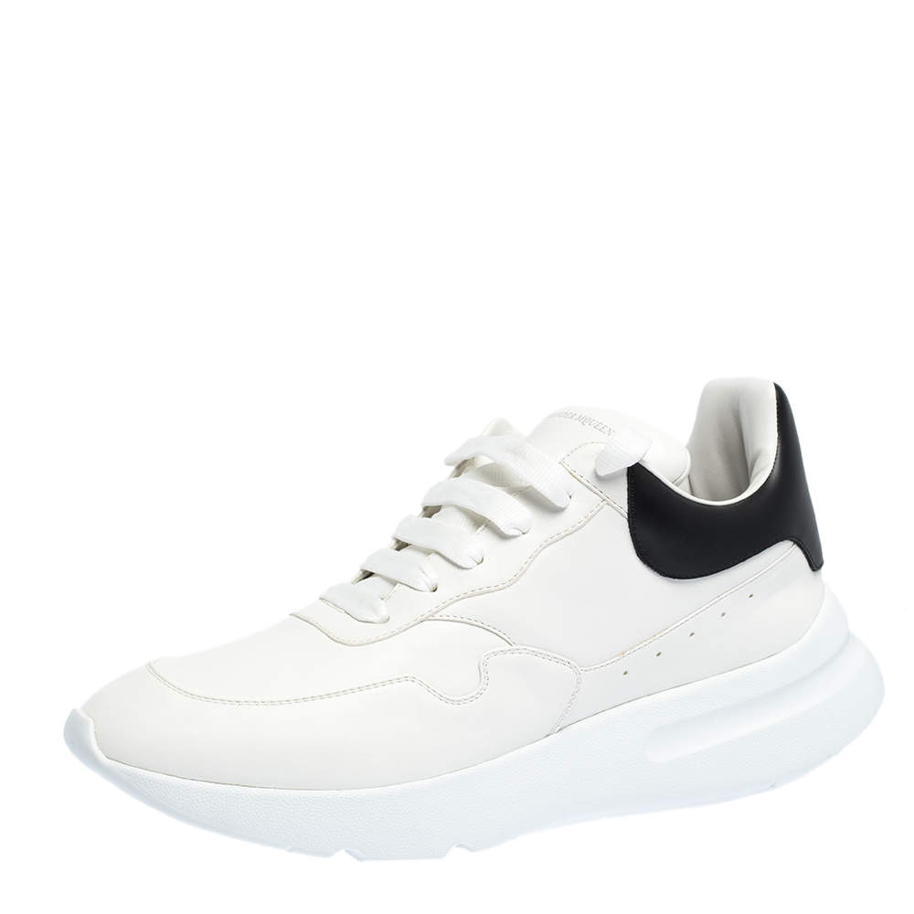 Alexander McQueen White/Black Leather Larry Low Top Sneakers Size 46
