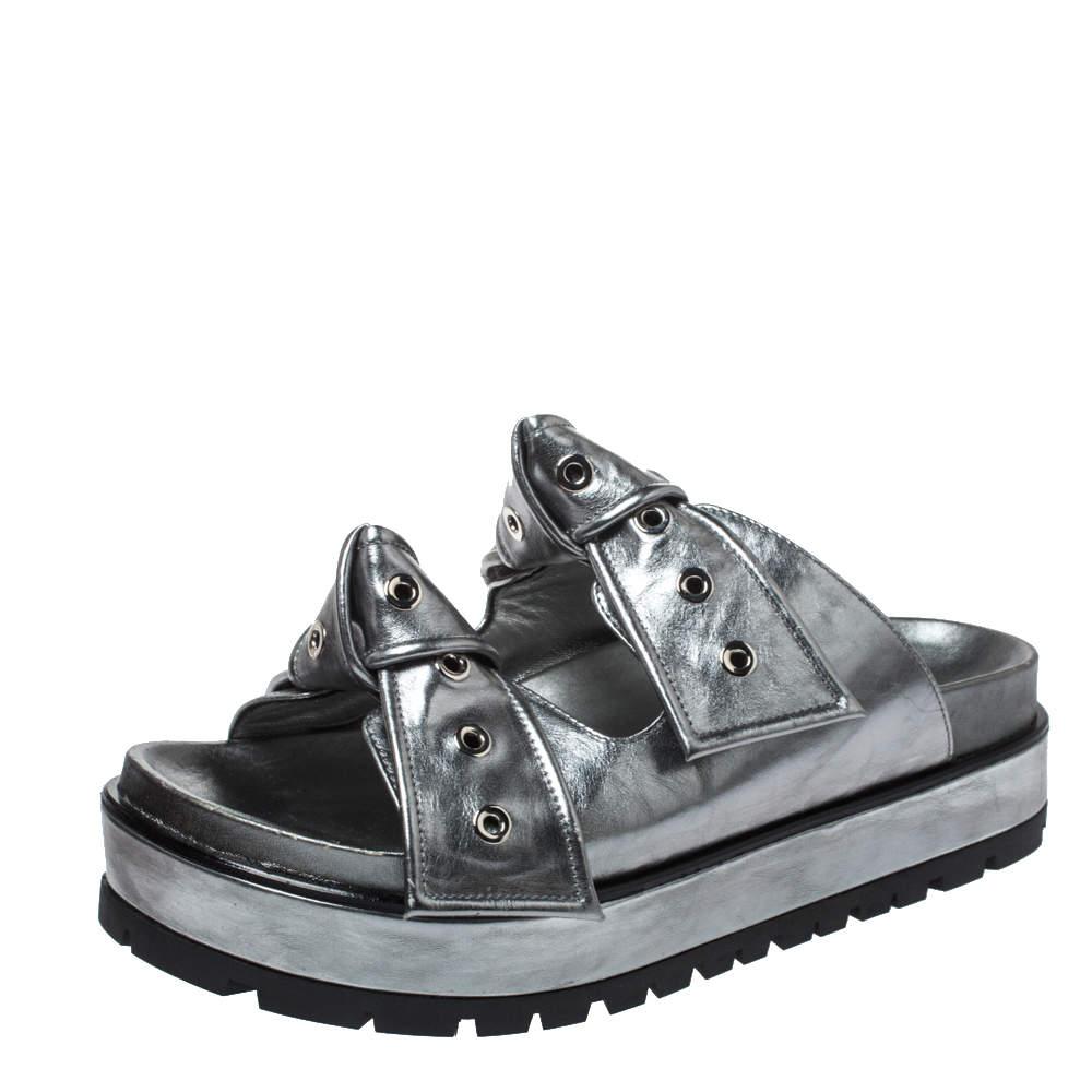Alexander McQueen Metallic Grey Leather Birkenstock Rivet Bow Tie Slide Sandals Size 38.5