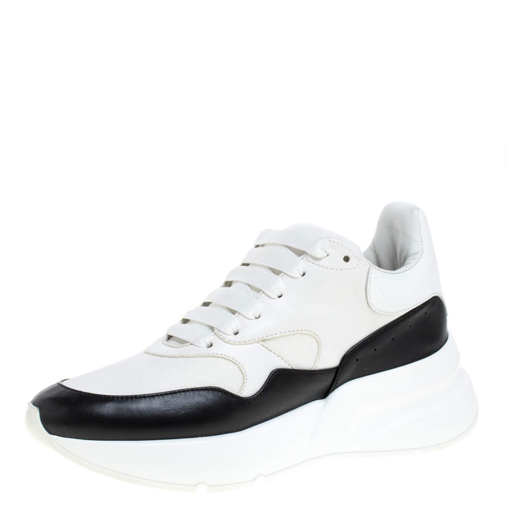 Alexander McQueen White/Black Leather Oversized Sole Runner Sneakers Size 38.5