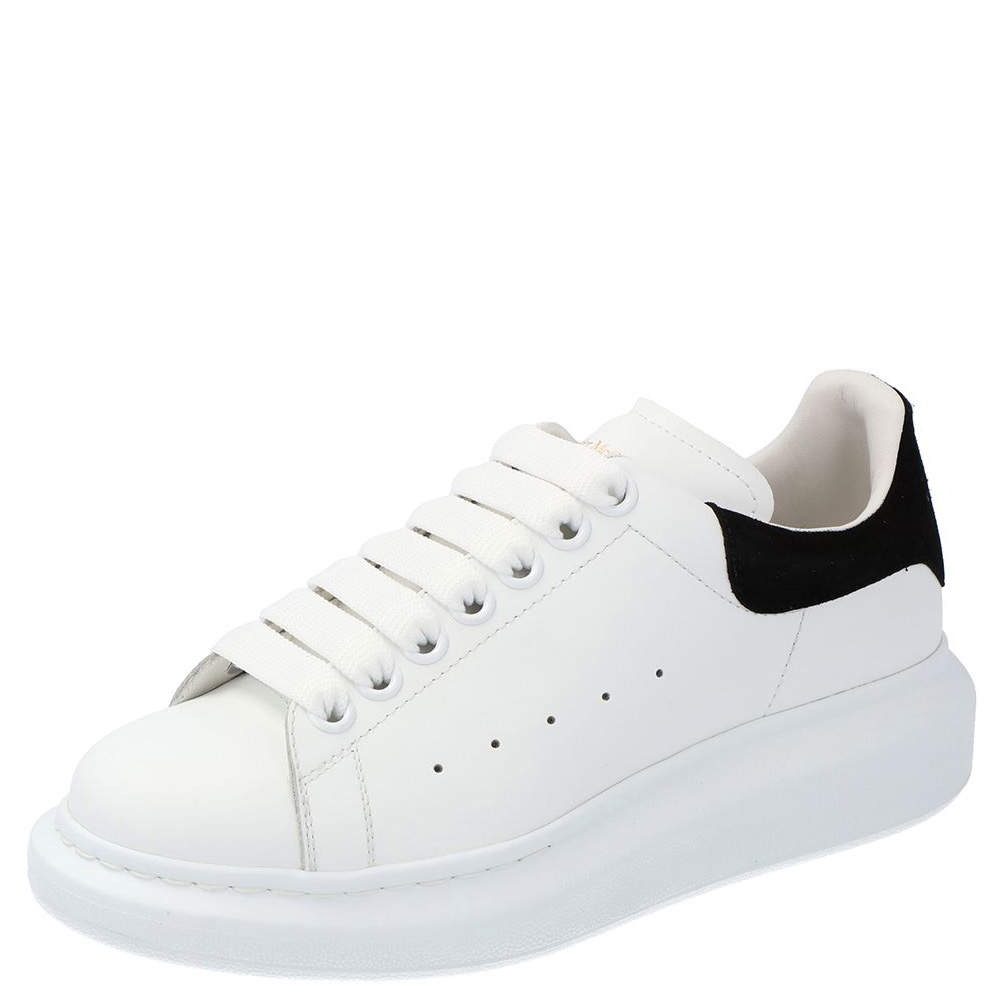 Alexander McQueen White/Black Leather Oversized Sneakers Size EU 38.5