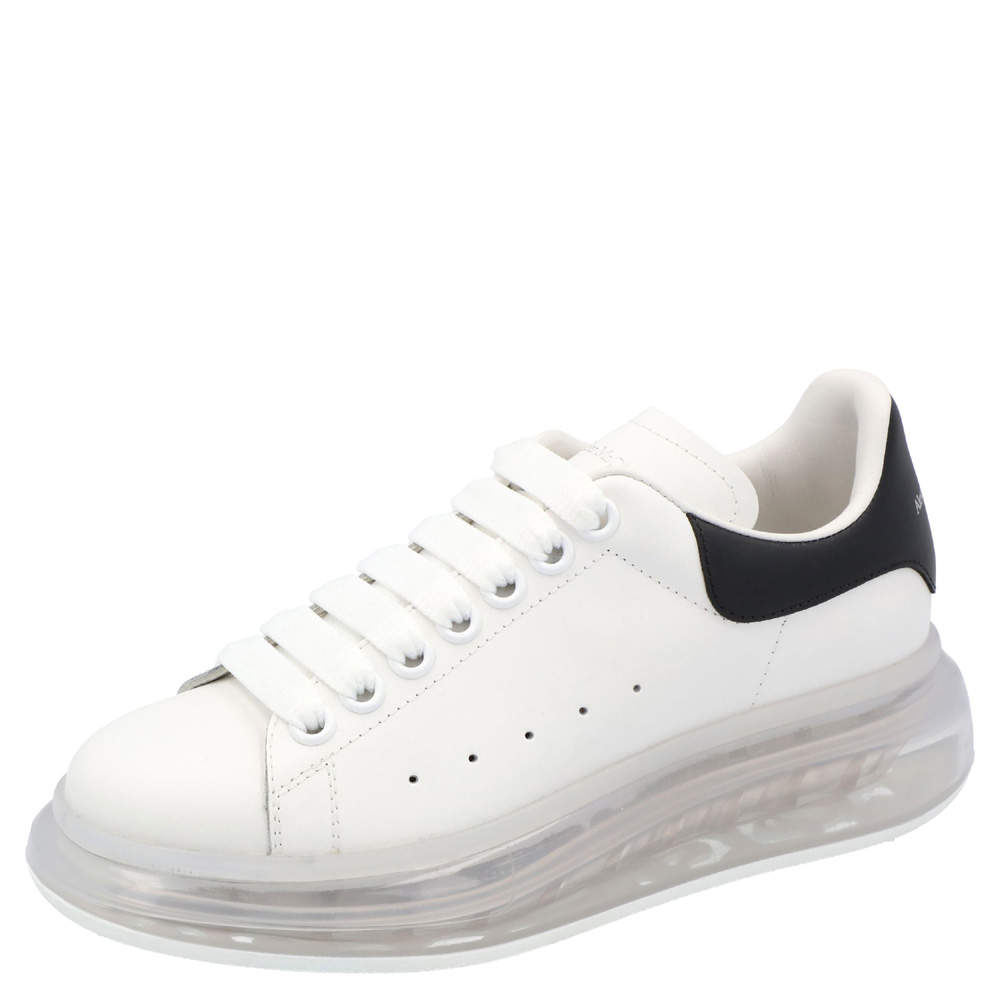 Alexander McQueen White/Black Leather Oversized Clear sole Sneakers Size EU 37.5