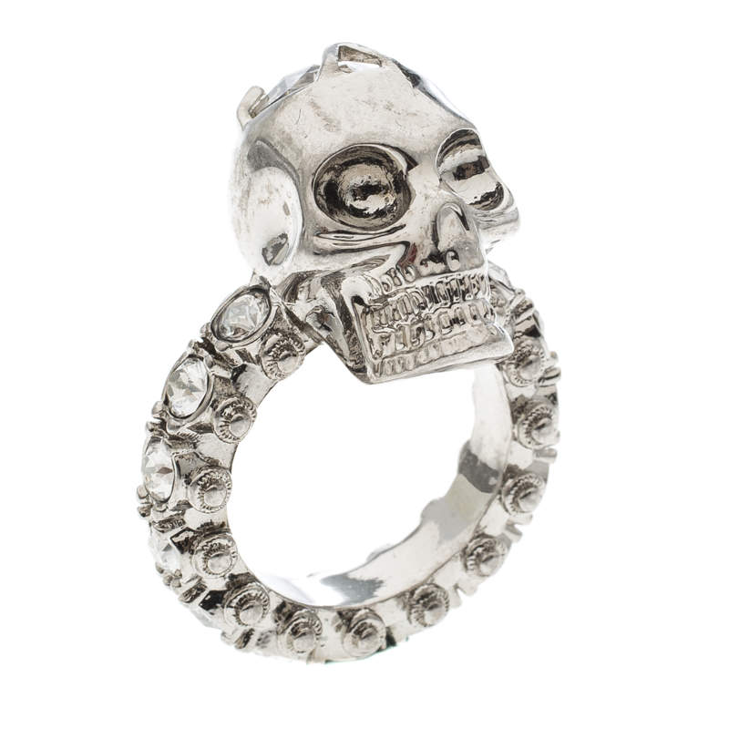 Alexander McQueen Skull Crystal Embedded Silver Tone Ring Size 51
