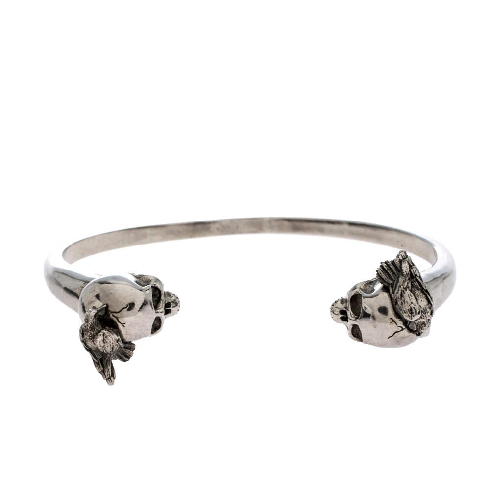 Alexander McQueen Raven Skull Silver Tone Open Cuff Bracelet M