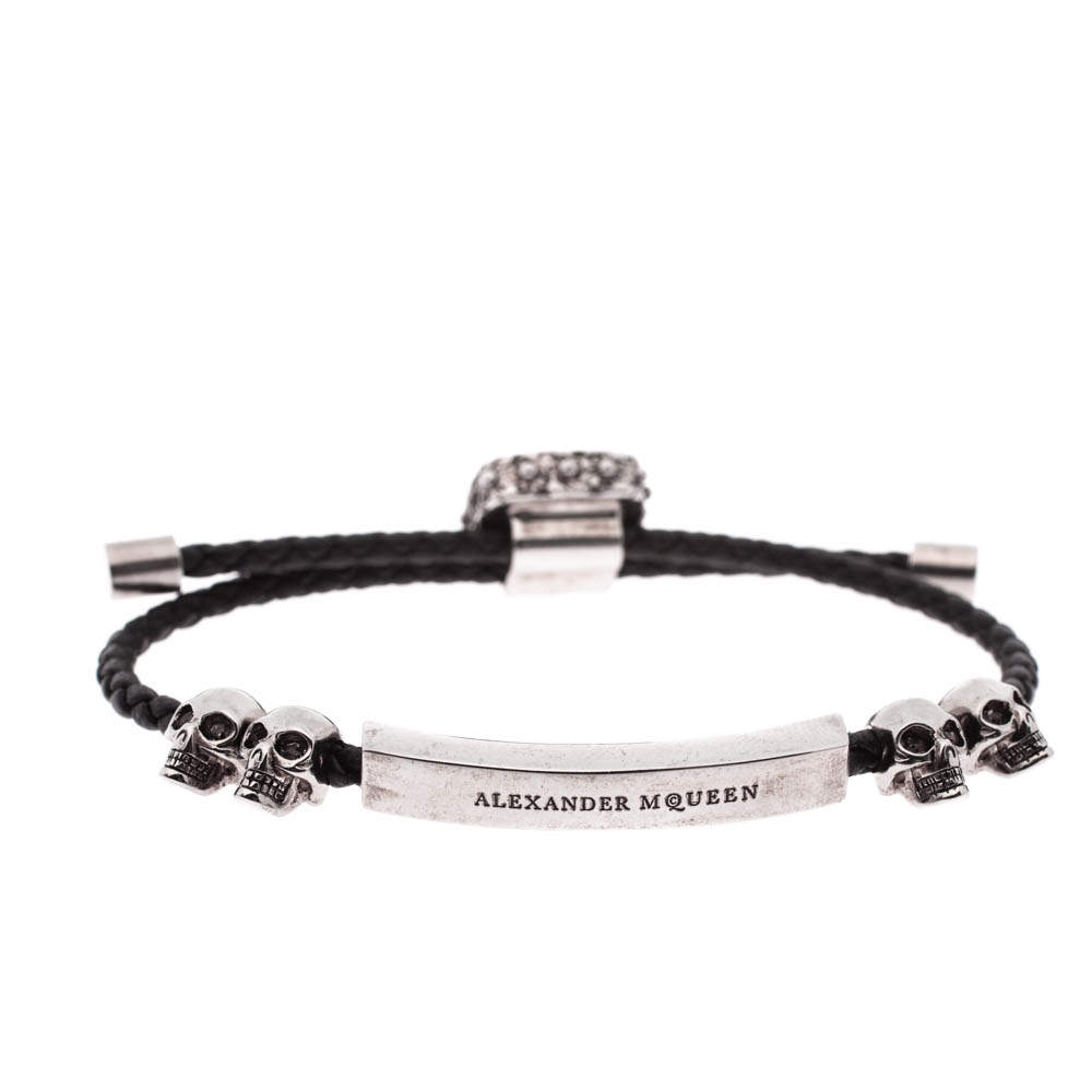 Alexander McQueen Crystal Skull Silver Tone Leather Adjustable Bracelet