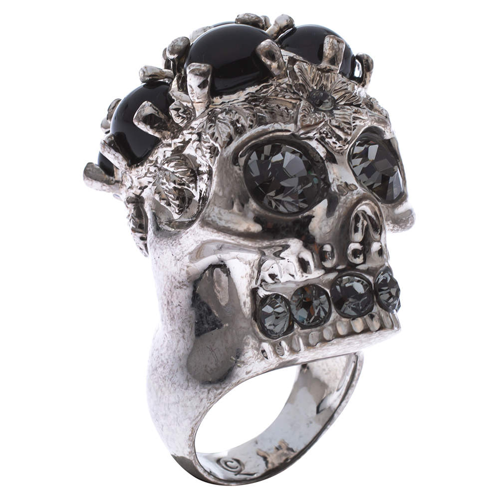 Alexander McQueen Skull Embellished Silver Tone Cocktail Ring Size 56