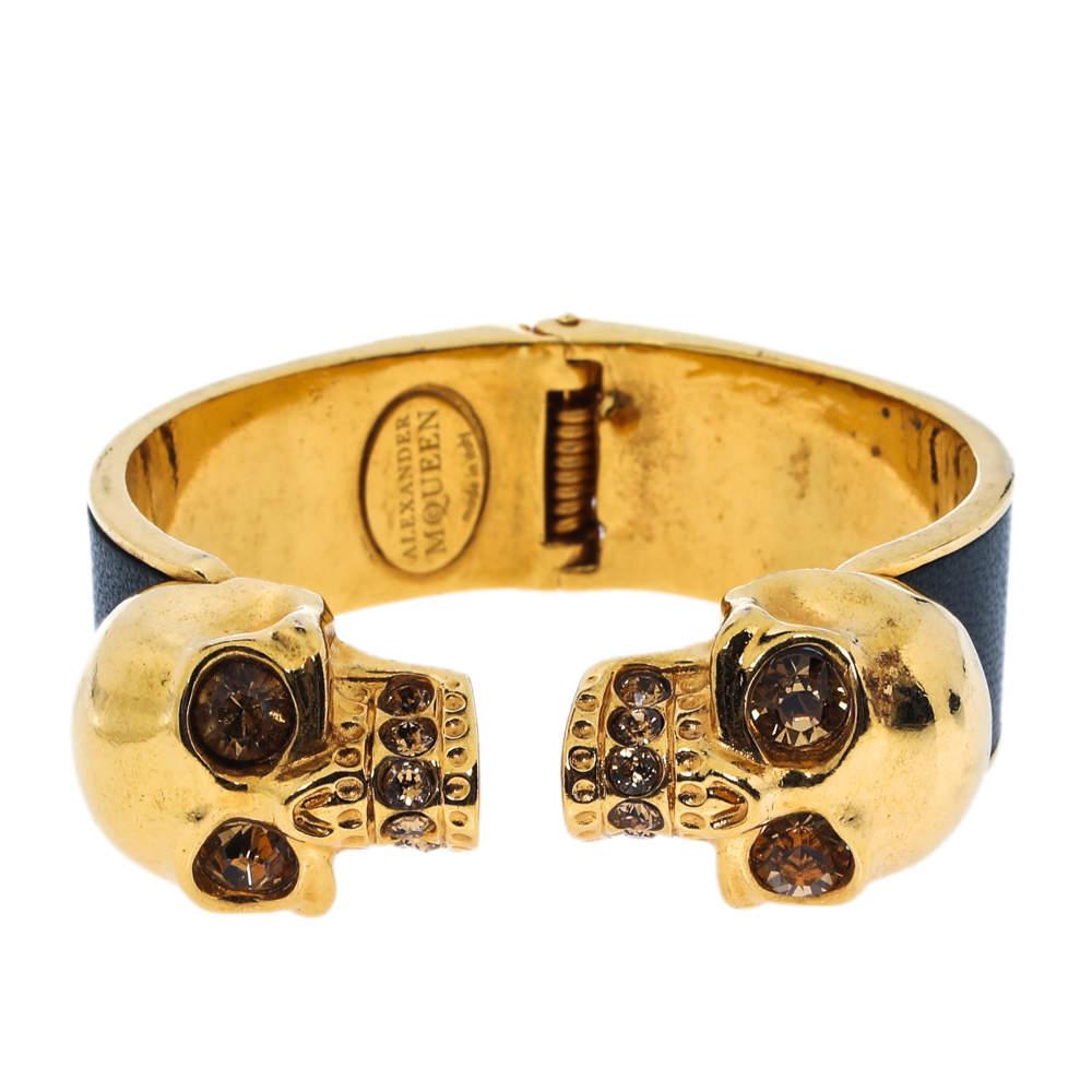 Alexander McQueen Black Leather Crystal Double Skull Open Cuff Bracelet