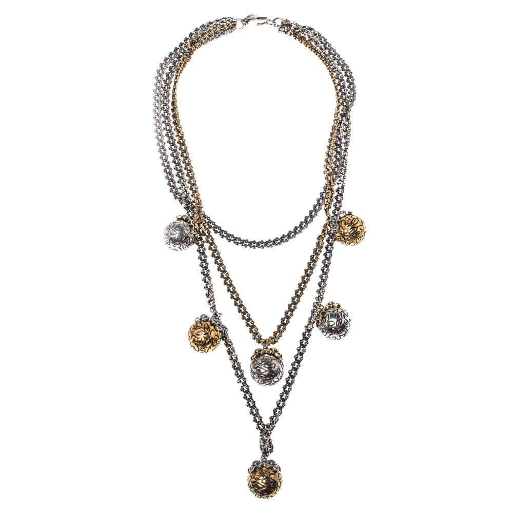 Alexander McQueen Engraved Crystal Sphere Layered Celtic Necklace
