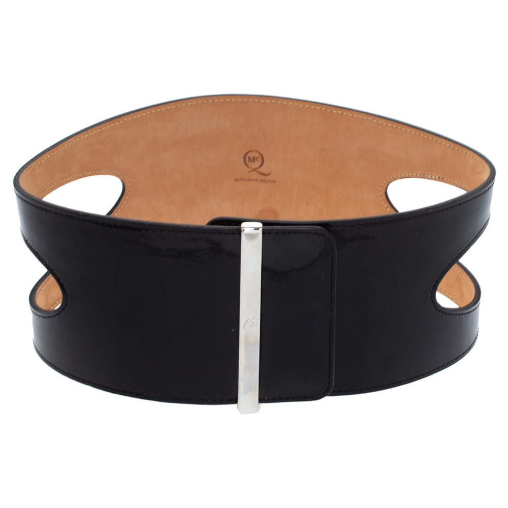 Alexander McQueen Black Cut Out Patent Leather Waist Belt 75CM