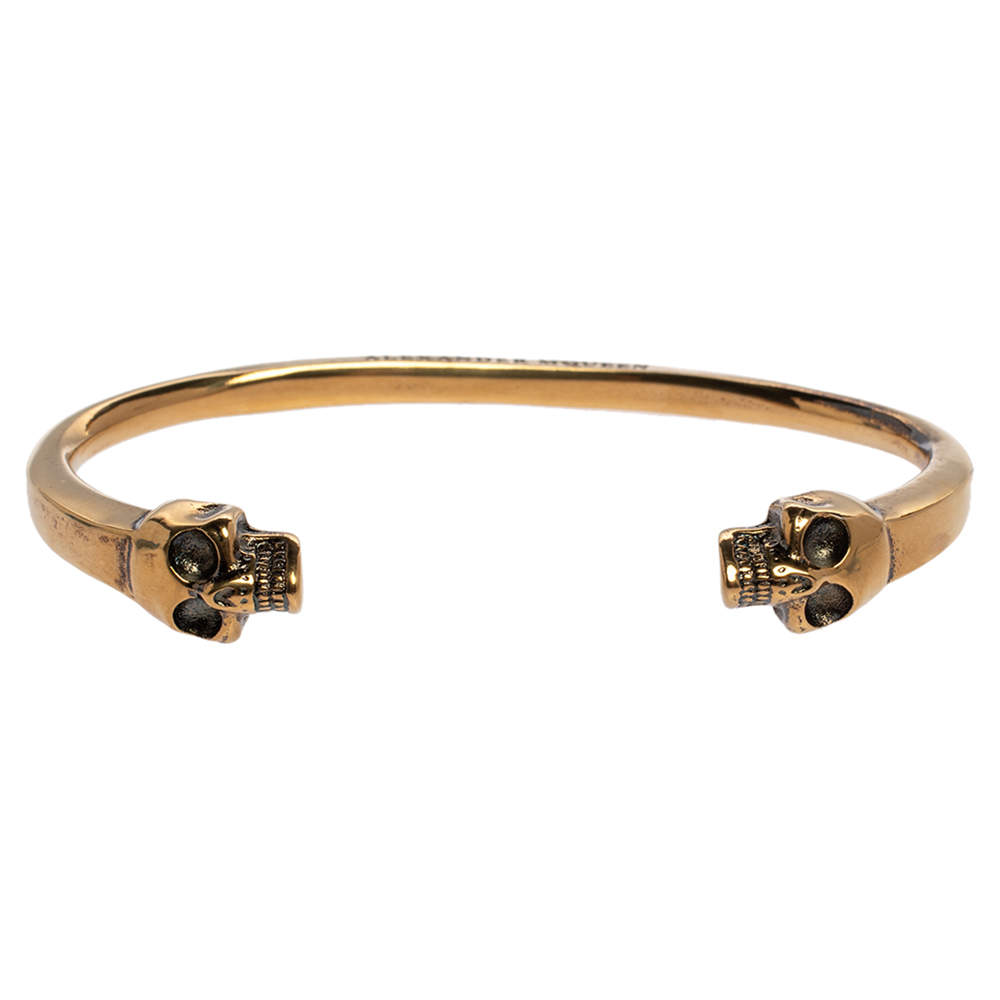 Alexander McQueen Twin Skull Motif Gold Tone Cuff Bracelet