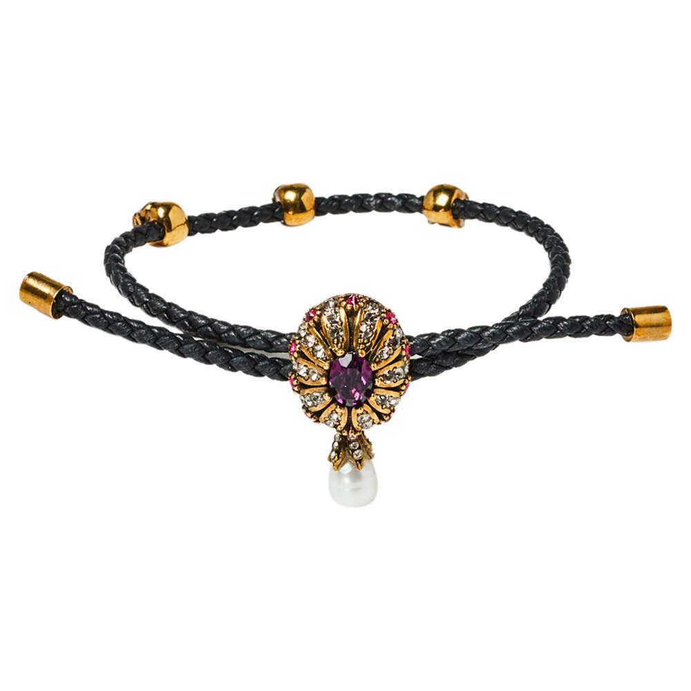 Alexander McQueen Leather Gold Tone Jewel Friendship Bracelet