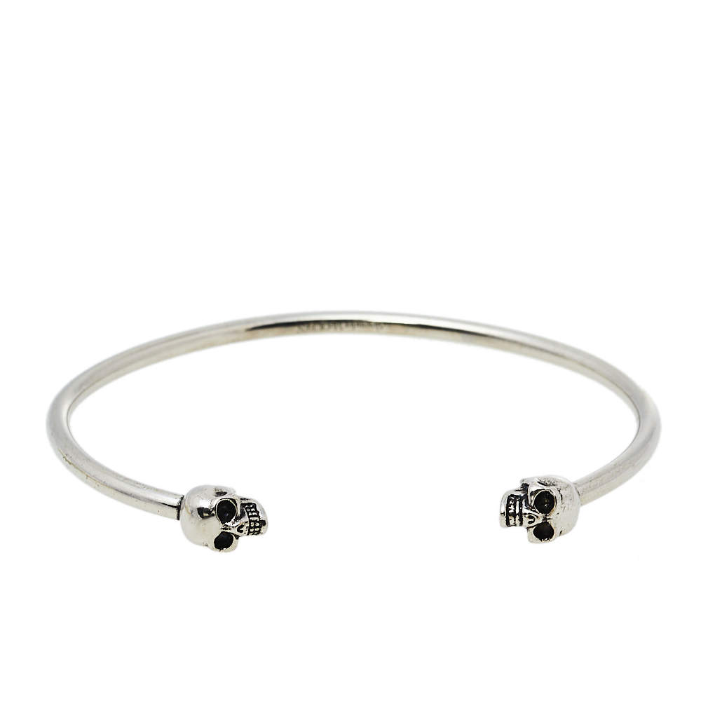 Alexander McQueen Antique Silver Tone Twin Skull Cuff Bracelet