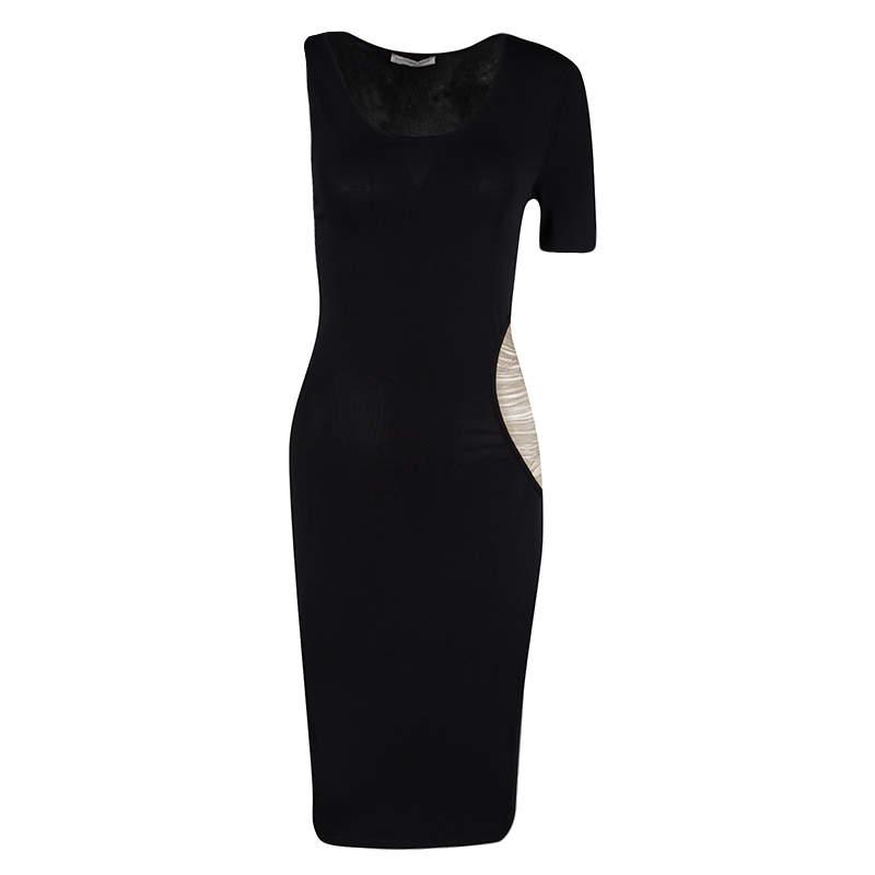 Alexander McQueen Black Knit Asymmetric Sleeve Chain Detail Bodycon Dress XS