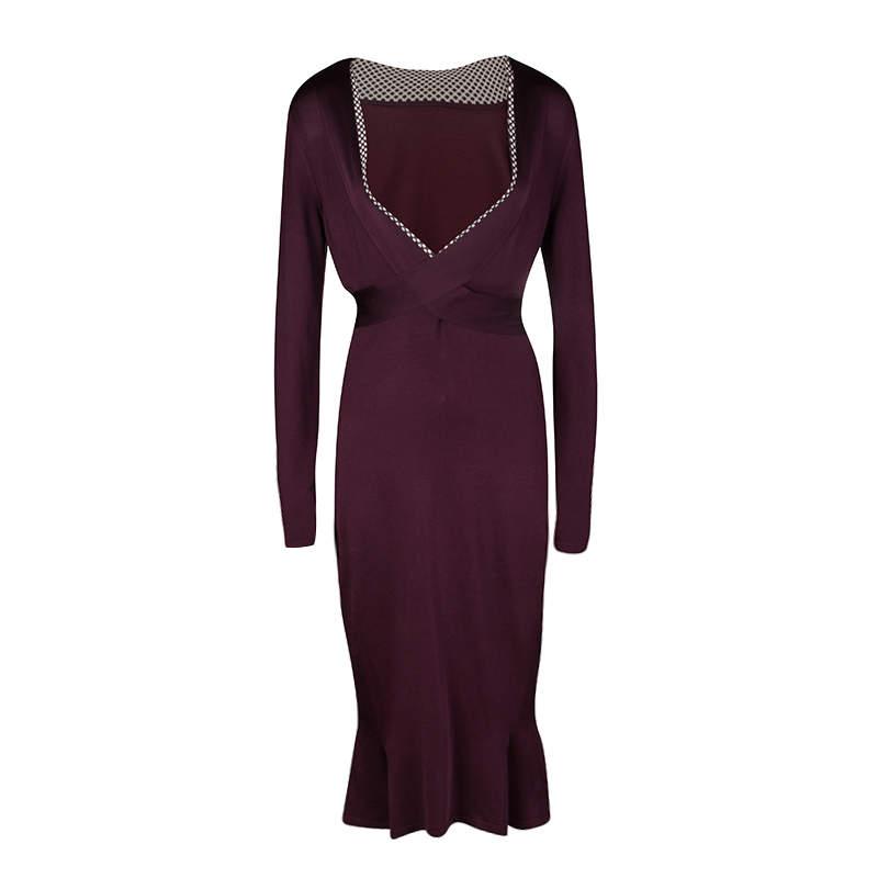 Alexander McQueen Burgundy Rib Knit Dotted Trim Long Sleeve Dress L