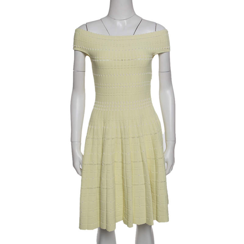 Alexander McQueen Pastel Yellow Perforated Knit Fit and Flare Dress S
