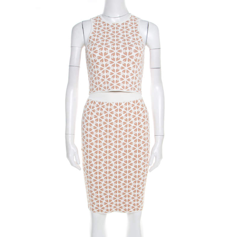 Alexander McQueen Beige and White Embossed Floral Jacquard Crooped Top and Skirt Set S
