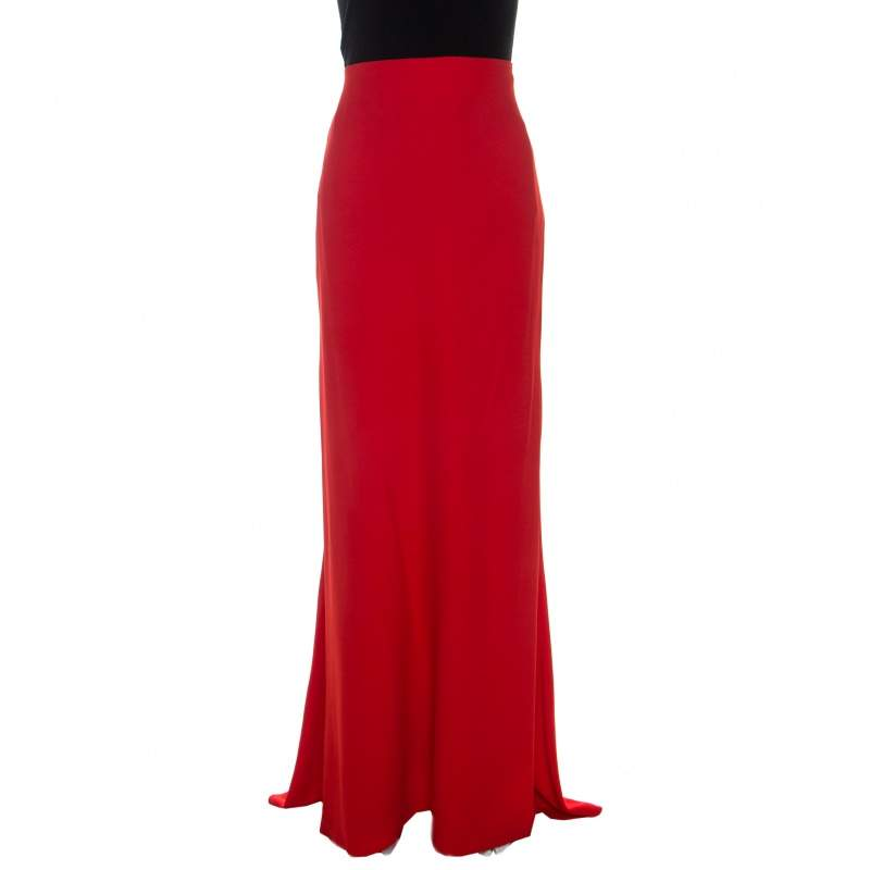 Alexander McQueen Coral Red Crepe Ruched Detail  Maxi Skirt L
