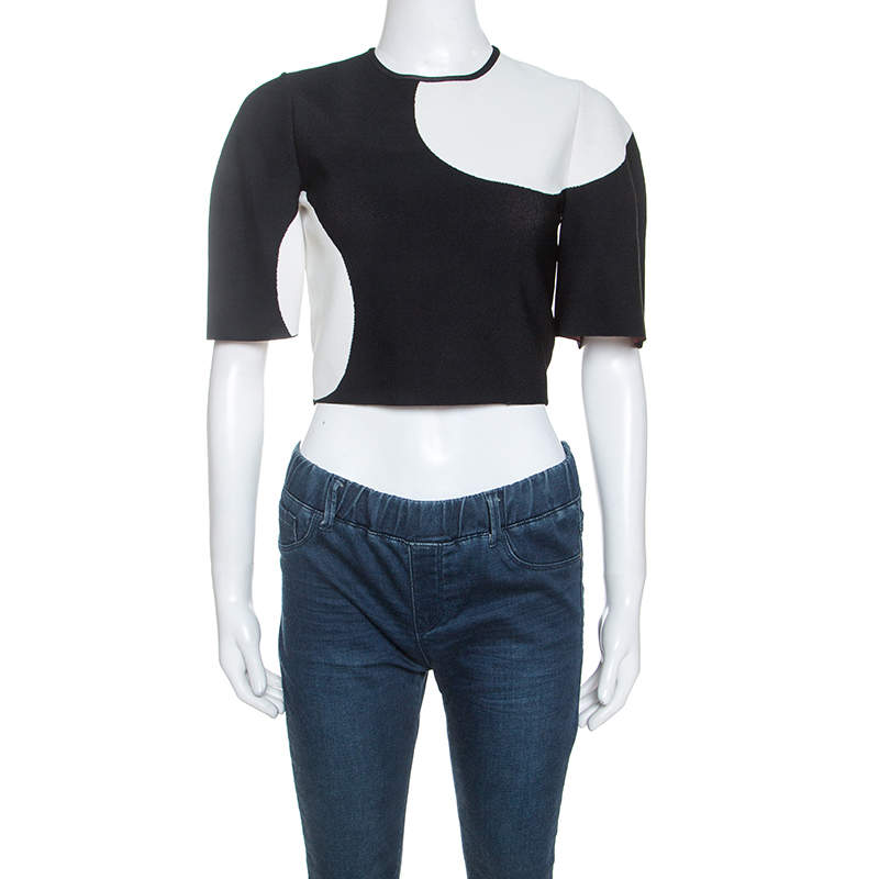Alexander McQueen Monochrome Jacquard Knit Cropped Top S