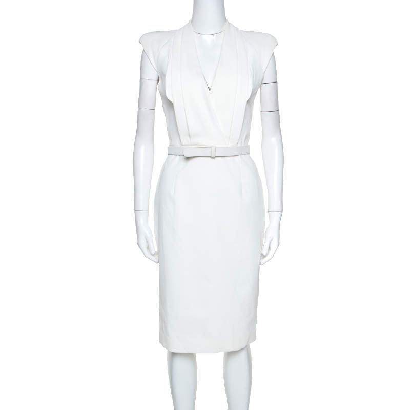 Alexander McQueen White Cotton Pleated Neck Detail Belted Dress S