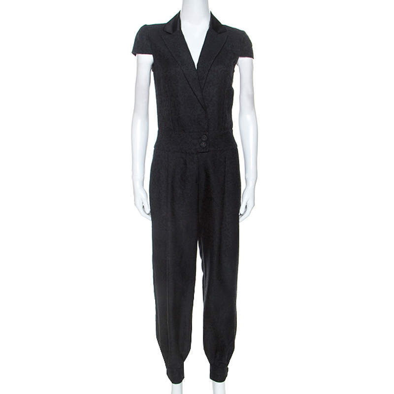 Alexander McQueen Black Jacquard Jumpsuit S