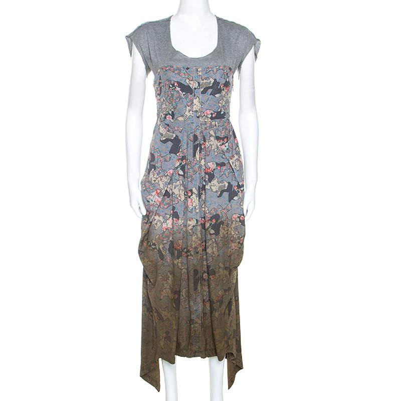 Alexander McQueen Multicolor Printed Silk Asymmetric Maxi Dress S