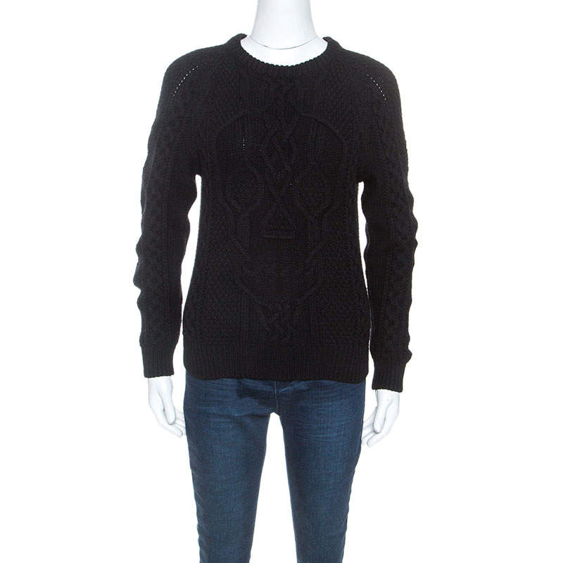 Alexander McQueen Black Wool Skull Cable Knit Sweater XS