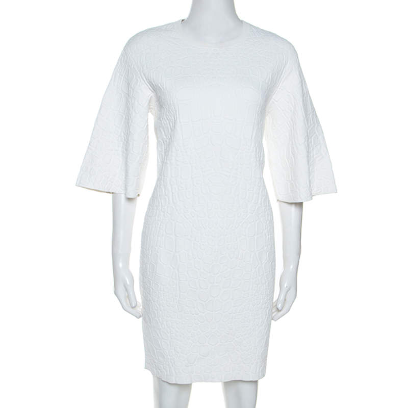 Alexander McQueen White Crocodile Embossed Stretch Knit Dress M