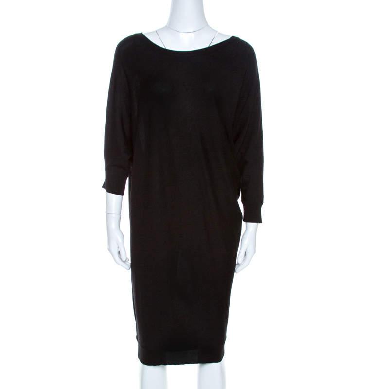 Alexander McQueen Black Knit Dolman Sleeve Sweater Dress M