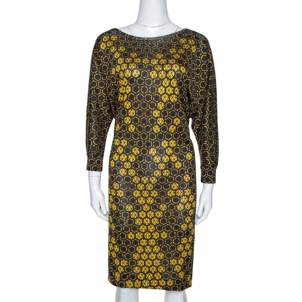 Alexander McQueen Yellow Honeycomb Print Silk Jersey Shift Dress M