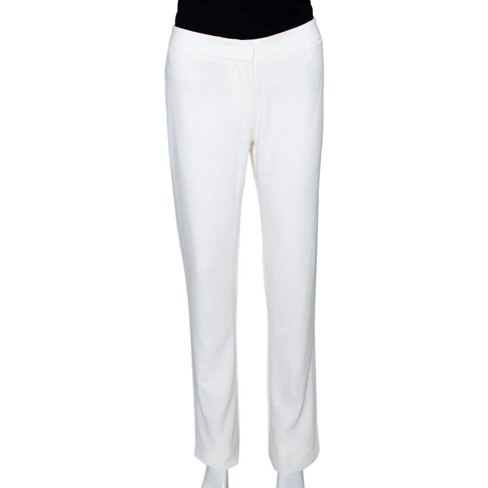 Alexander McQueen Cream Crepe Straight Leg Trousers M