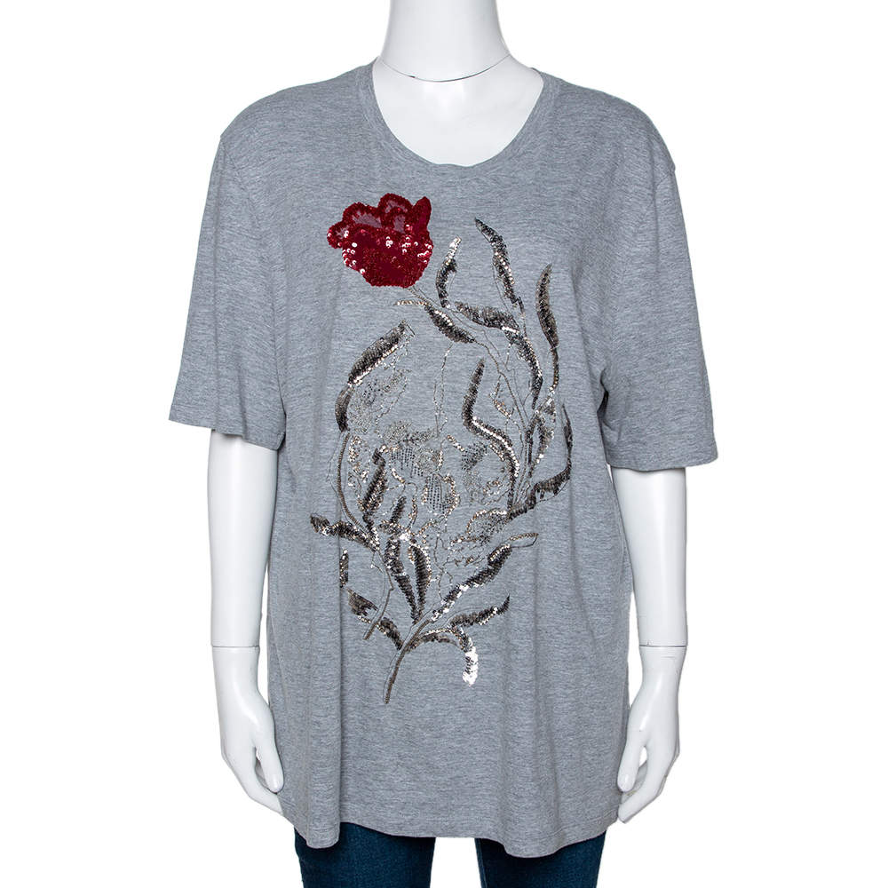 Alexander McQueen Grey Cotton Floral Sequin Embellished T Shirt M