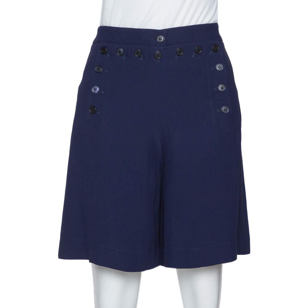 Alexander McQueen Navy Blue Crepe Button Detail Shorts S