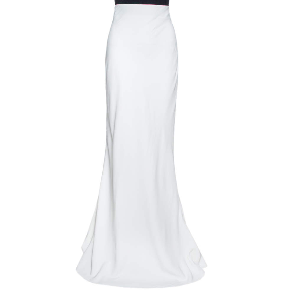 Alexander McQueen Off White Crepe High Waisted Maxi Skirt M