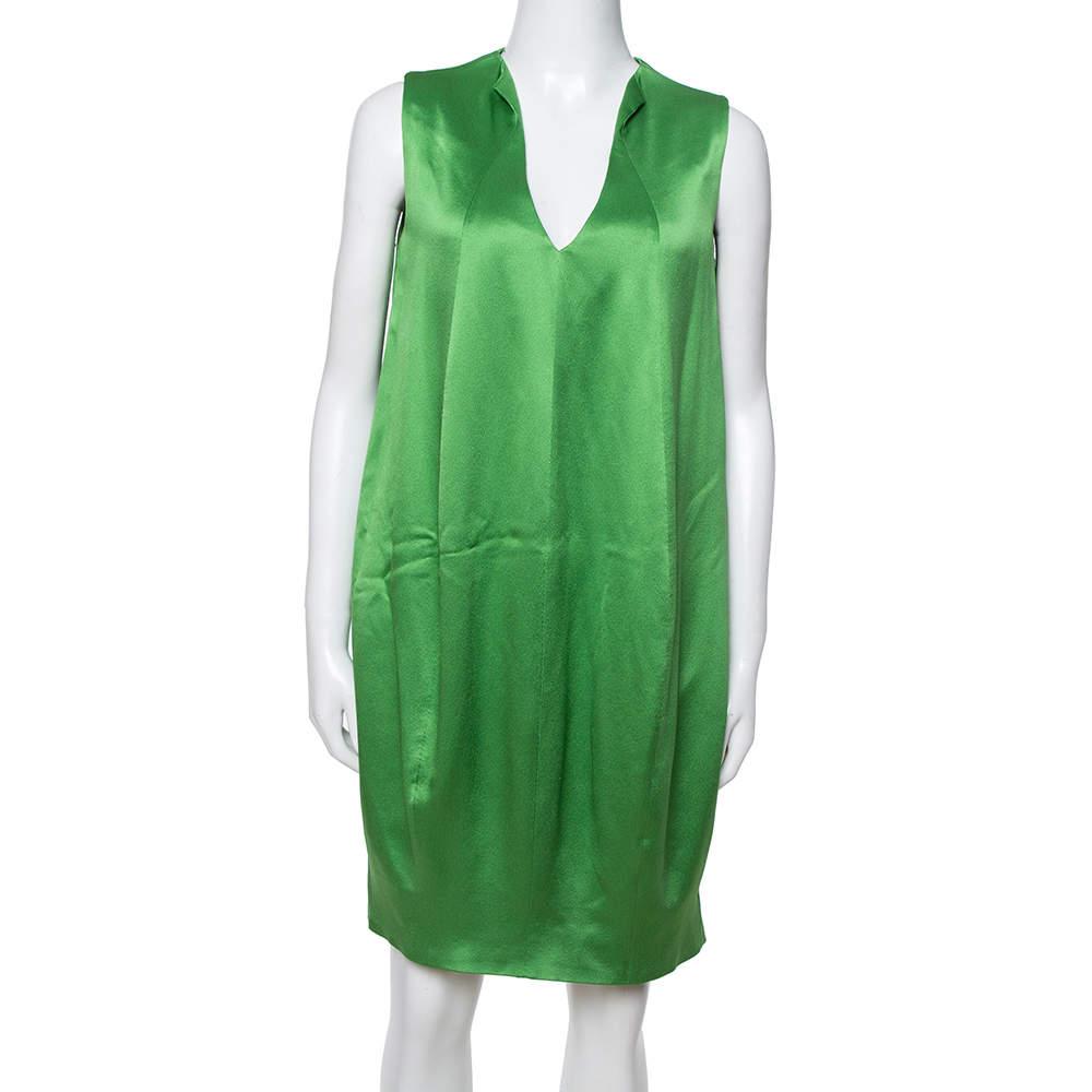 Alexander McQueen Green Silk Satin Sleeveless Shift Dress M