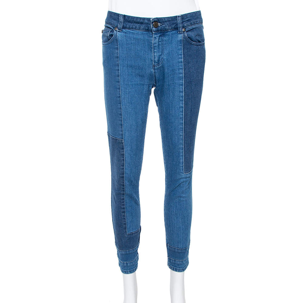 Alexander McQueen Blue Patchwork Denim Cropped Skinny Jeans M