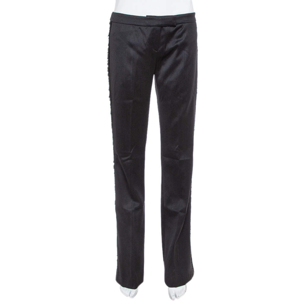 Alexander McQueen Black Wool Fringe Detail Flared Trousers M