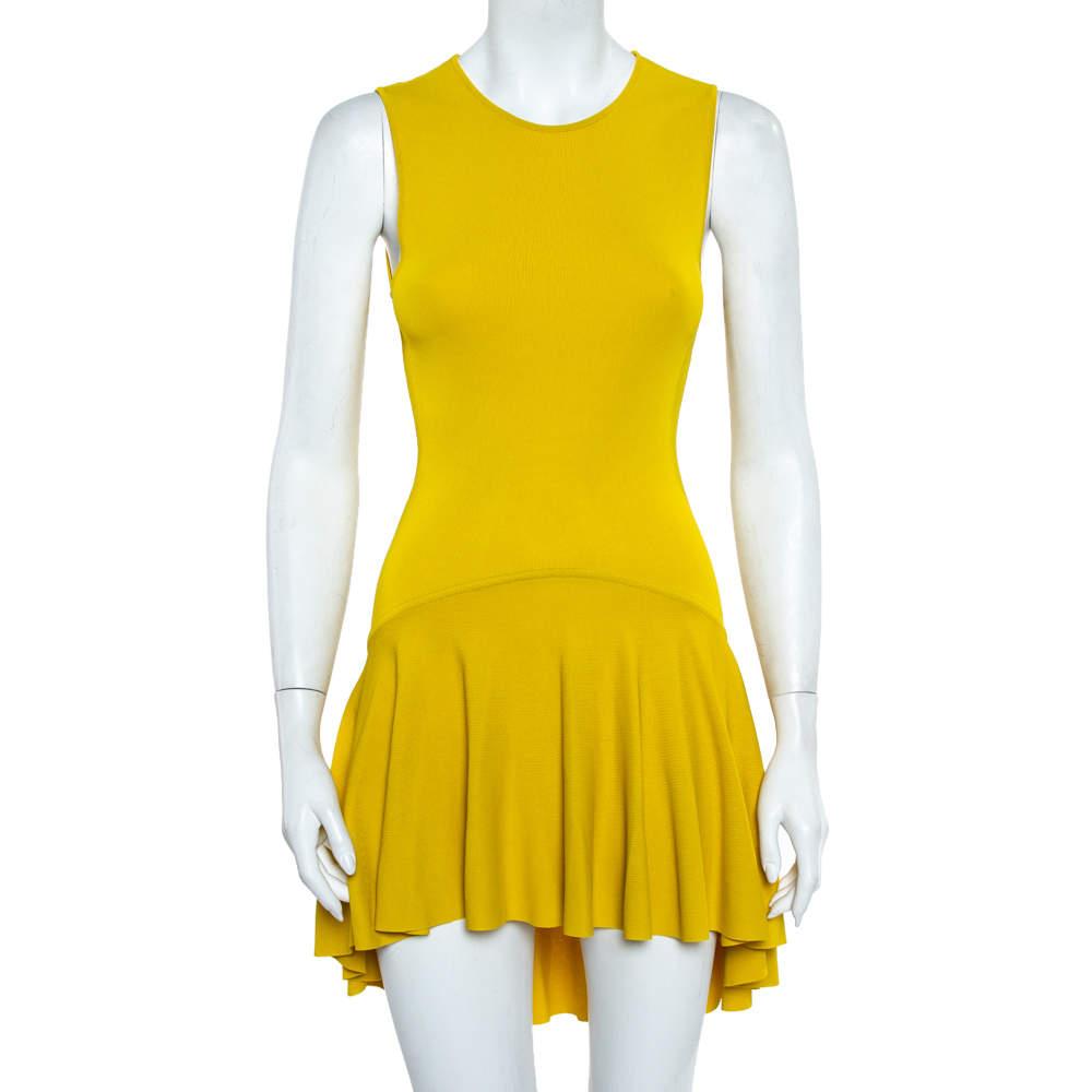 Alexander McQueen Yellow Knit Asymmetrical Hem Detail Skater Dress M